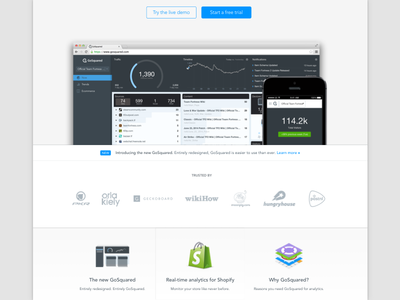 The new GoSquared Home Page gosquared home homepage page redesign shopfiy analytics used by