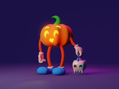 Pumpkin kid halloween 3d art casual game dribbbleweeklywarmup