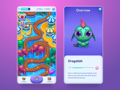 Space Monsters: World Puzzle | Game art and Game interface game character game design ux ui 2d art design game art game casual game