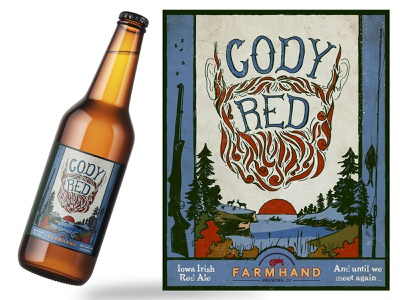 Custom Beer Label Illustration - Cody Red Iowa Irish Red Ale packaging handdrawn label design illustration design