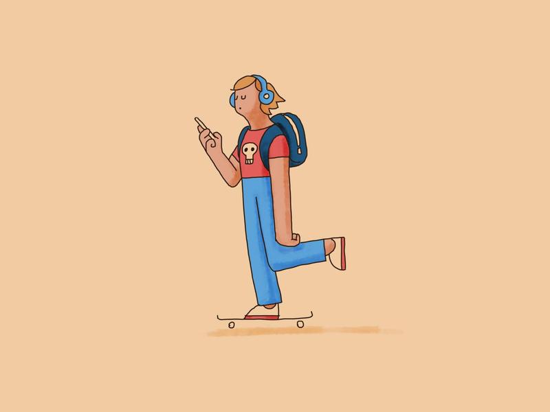 Skate hand drawn character illustration phone headphones skate