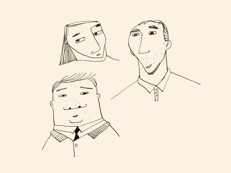 Faces 4 hand drawn character illustration