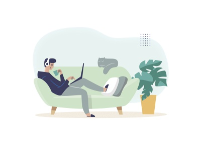 work from home home working character flat illustration