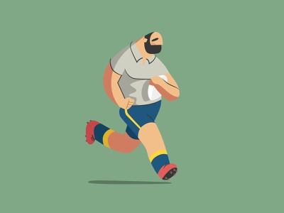Rugby player running rugby player vector flat illustration