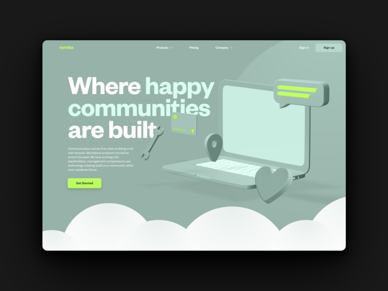 Proptech homepage concept 3d management property desktop web branding ux ui marketing