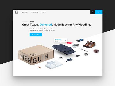 Menguin wedding shipping homepage ecommerce fashion menswear ux ui web