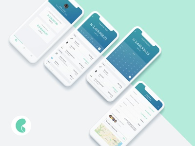 Banking app history calender profile app transaction account bank mobile ux ui fintech