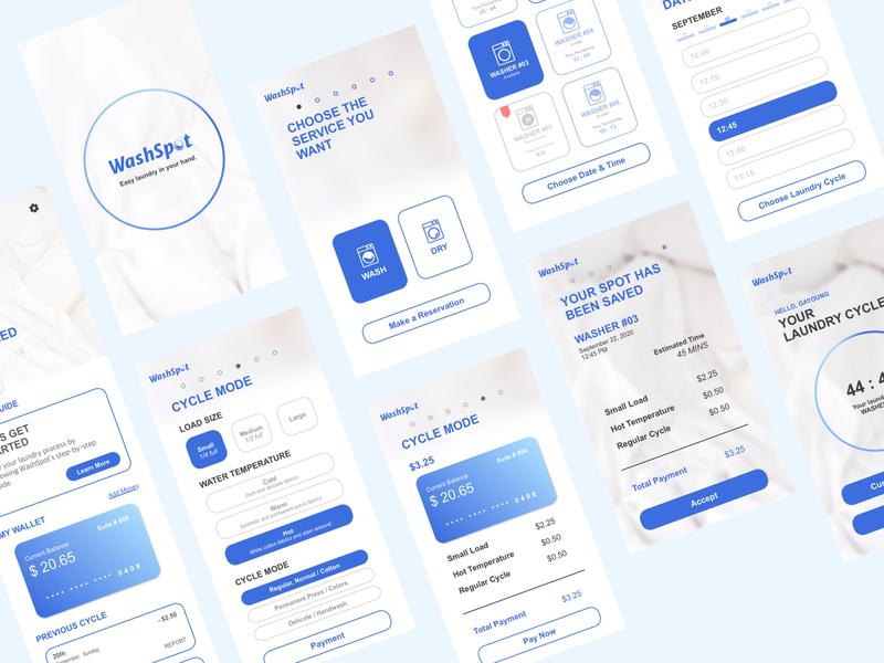 WashSpot - App UI Design branding minimal design designer portfolio app design app uxdesign uidesign ux ui ui ux
