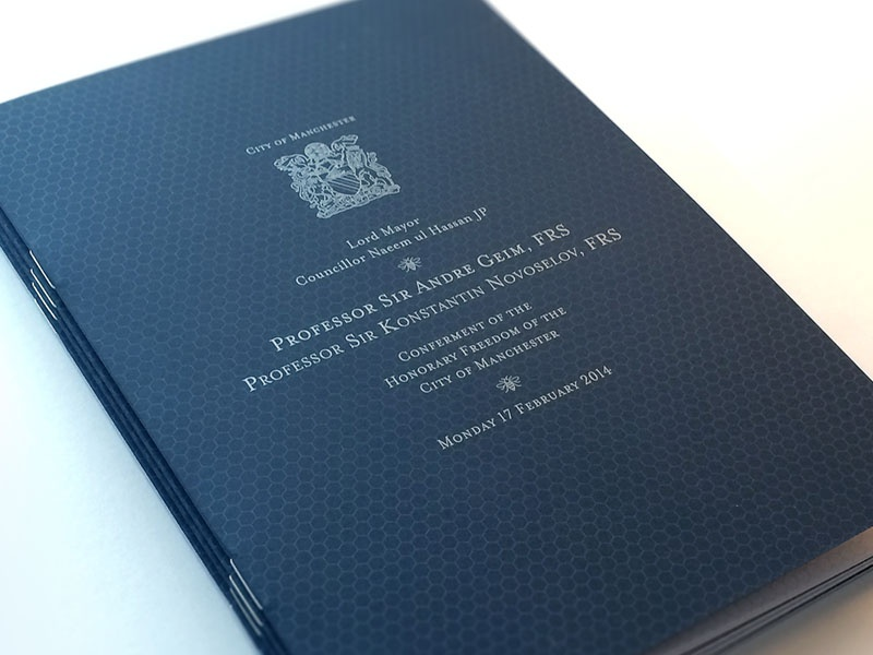 Honorary Freedom of the City of Manchester design print spot silver science programme metallic graphene manchester