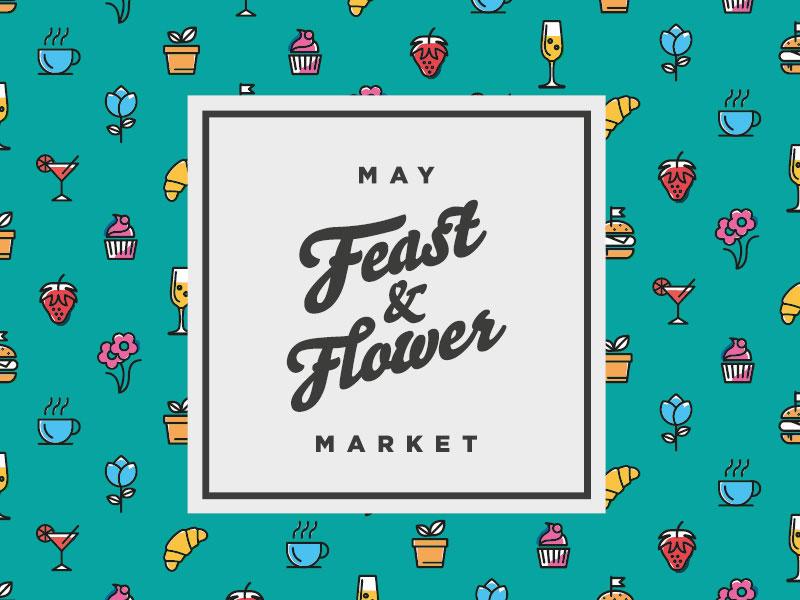 Feast and Flower event branding frame type flowers drinks food market icons illustration design