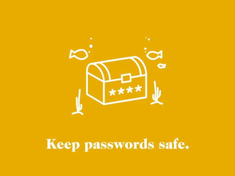 Keep Passwords Safe chest passwords line simple security illustration icon