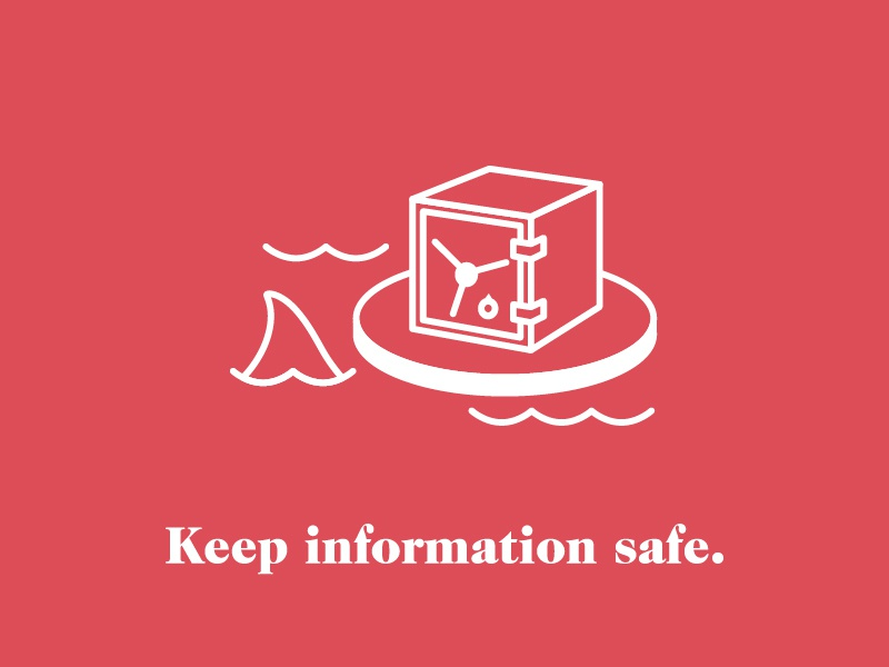 Keep Information Safe chest passwords line simple security illustration icon