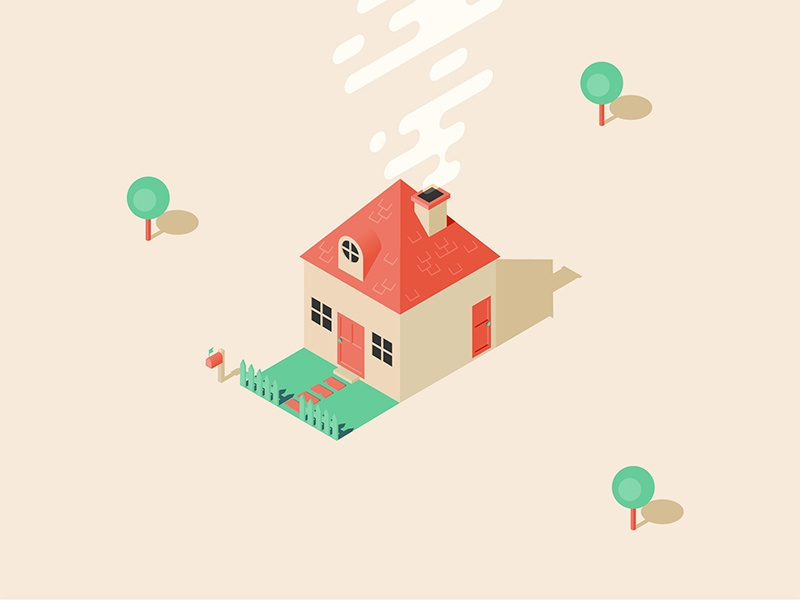 House smoke garden trees house isometric illustration icon