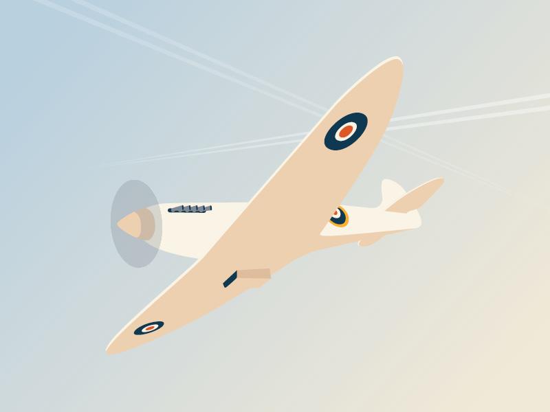 Spitfire military armed forces minimal icon fighter illustration plane spitfire