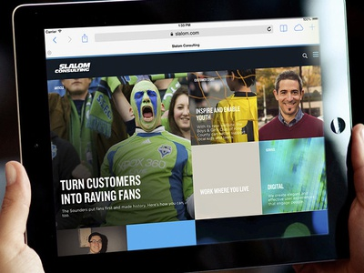 Slalom.com website on tablet ipad website responsive design ux drupal cms web design visual design interactive tablet ios