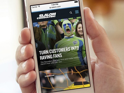 Slalom.com website on mobile website mobile responsive design ux drupal cms web design visual design interactive iphone ios