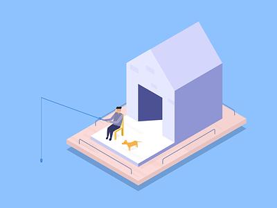 Moving hut illustration
