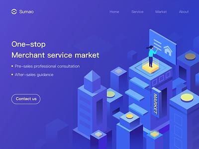 Service market shot 2.5d uiux web illustration