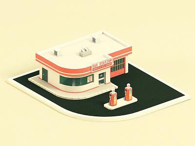 Vintage Gas Station gas station 3d maya vintage