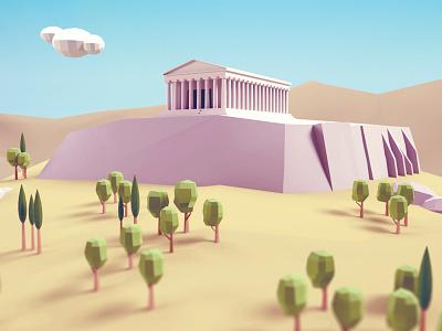 Acropolis acropolis 3d low poly athens greece