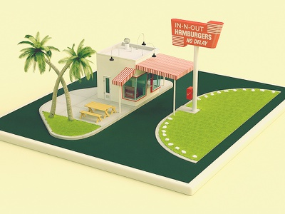 """""""In n Out"""" - Replica of their first store 3d maya vintage high poly in n out"""