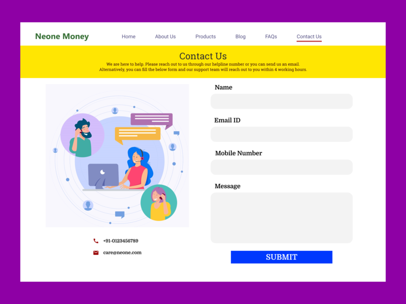 Contact Us - Daily Challenge #002 illustration daily challenge fintech user experience user interface web design contact us