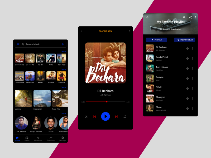 Music App Dark Mode - Daily Challenge #013 dark dark theme dark mode dark ui music app ui music app design rebound shot rebound music app music typography app design design color user experience daily ui challenge daily challenge