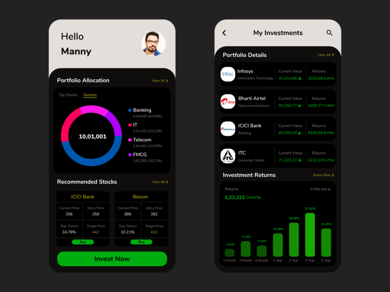 Stock Market Investment App (Dark Mode) uxui ux user experience user interface ui investment app fintech dark theme dark mode color typography mobile design app design