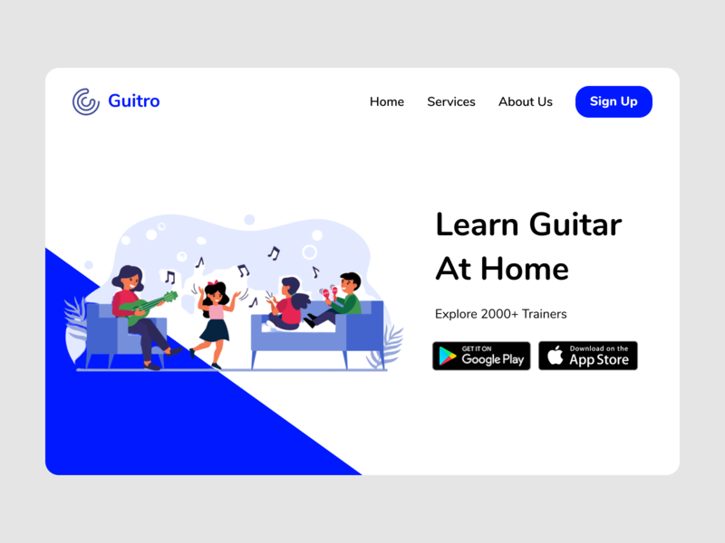 Guitar At Home Services Web Page illustration ux user interface ui user experience color typography services learn guitar at home web design webpage design