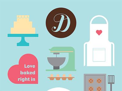 Dolce Bakery Sticker Sheet baking sweet spatula egg mixer cookie baked love heart cake apron bakery