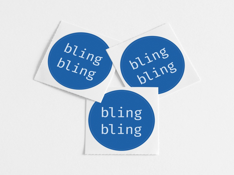 Bauble Stickers white blue bling type modern jewelry gem diamond branding minimal print design pink