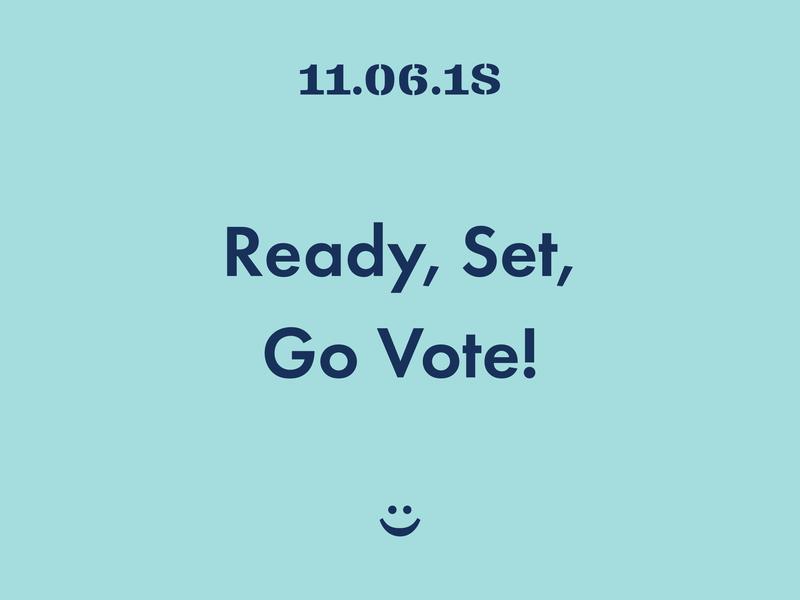 Ready, Set, Go Vote! election day smile smiley face blue navy clarendon futura 2018 election midterm go vote vote