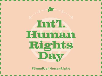 Int'l. Human Rights Day green peach globe human rights dove wreath