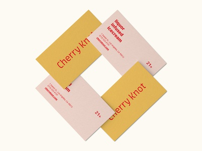Cherry Knot Business Card red pink orange minimal liquor ice cream cherry business card alcohol adobe live challenge adobe live adobe