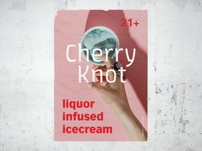 Cherry Knot Poster adobe fonts adobe live adobe adobe live challenge alcohol poster cherry ice cream liquor minimal red pink