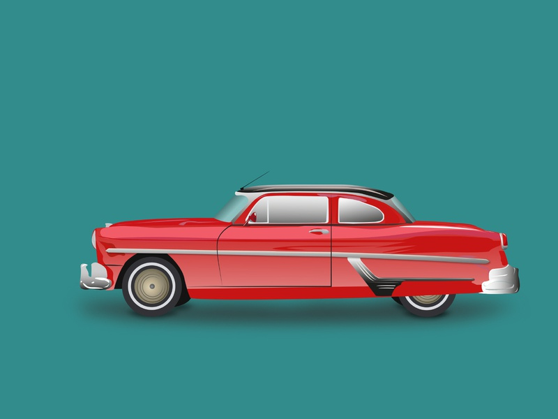 Crimson Red Vintage Car red car vintage car car vector illustration flat design
