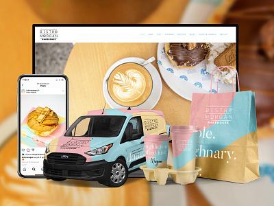 Bistro Morgan Brand Design & Graphic Design vegan donuts banana avocado coffee tan khaki blue pink branding logo brand design illustration luscombe scott creatibly bistro bakery restaurant donut