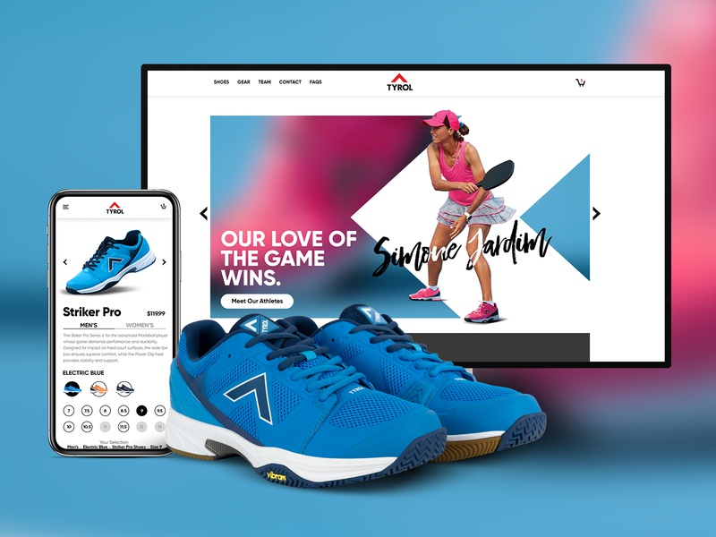 Tyrol Shoes Brand & E-Commerce Design website design ecommerce ux ui interface blue red shoes app shoes shopify theme shopify expert shopify store