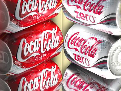 Coca-Cola beverage render 3d artist 3d art silver red coke coca-cola illustration 3d
