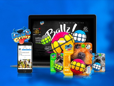 Dawg Grillz retail e-commerce website blue illustration product branding pet dog