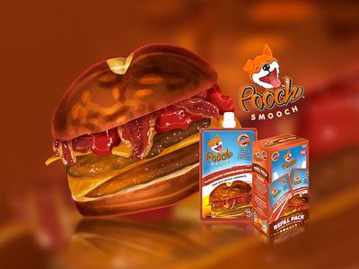 Pooch Smooch package hamburger dog logo design brand design packaging