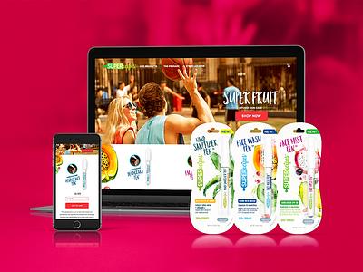 Superecipes branding personal care makeup website design e-commerce packagingdesign