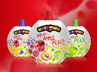Unitown Yogurt Packaging blueberry banana apple pear peach package design packages watercolor illustration packaging yogurt