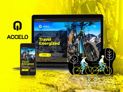 Accelo Bikes Branding and Website Design e-commerce shopify mobile black blue yellow illustration skateboard scooter electric e-scooter e-skateboard e-bike graphicdesign website design website bicycle bike