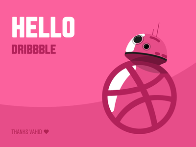 Hello Dribbble star wars bb-8 hello