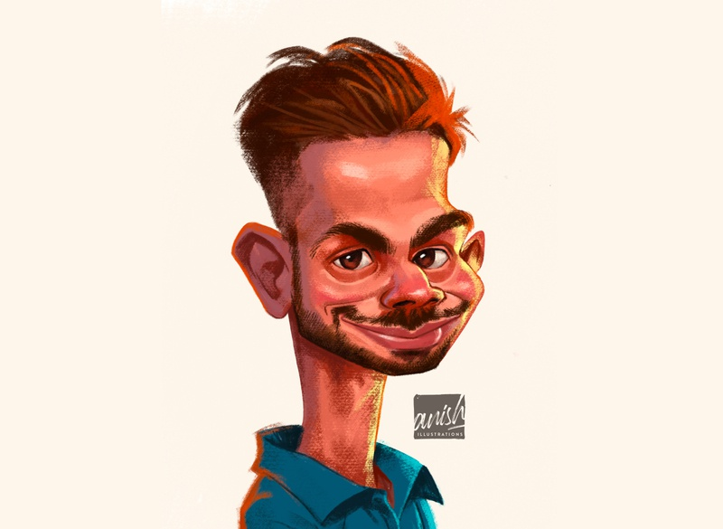 Virat Kohli sports design sports concept art caricature photoshop drawing procreate illustration design