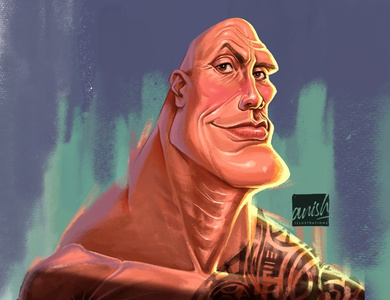 Dwayne Johnson hollywood wwe concept art wacom intuos sports caricature photoshop procreate drawing illustration design
