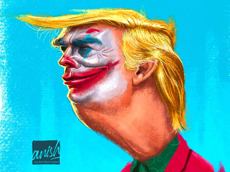 Donald Trump republic united states of america politics politician wacom intuos concept art caricature procreate photoshop illustration drawing design