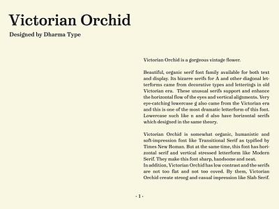 Victorian Orchid serif type font design typeface type design font
