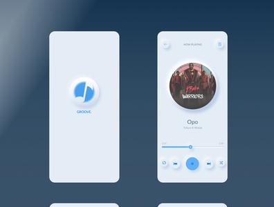 Music player design with neumorphism logo design ux ui